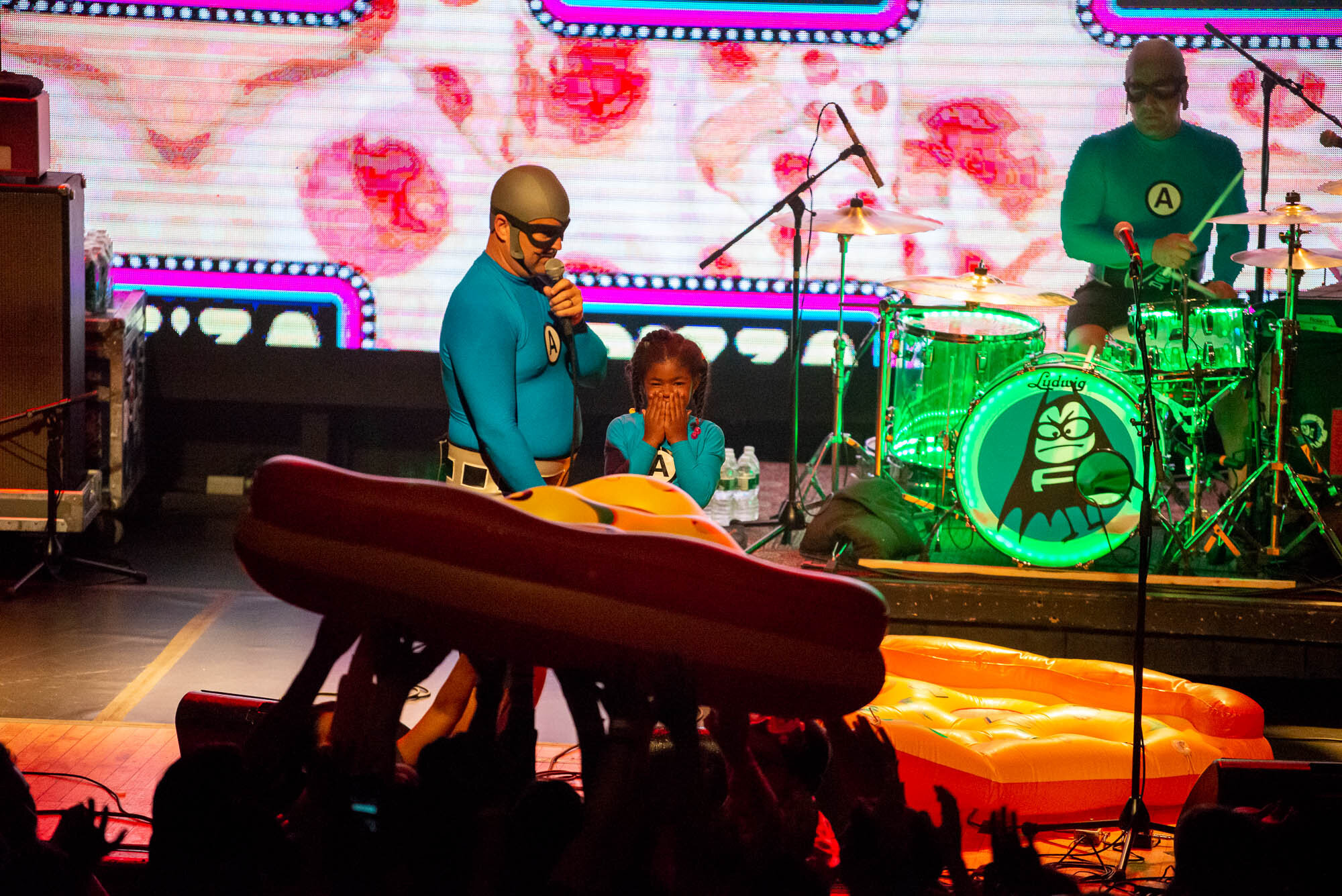 The MC Bat Commander of The Aquabats and a 5-year-old-fan on stage on Friday, September 20, 2019 at Warsaw in Brooklyn, NY.