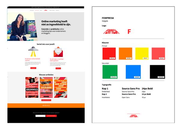 Mijn website en stijlgids toen ik mijn website net lanceerde. Inmiddels al wat veranderd, maar je snapt het idee.