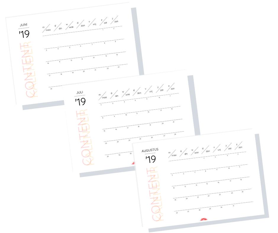 Mijn gratis contentkalenders voor de maanden juni, juli en augustus 2019 voor jou!