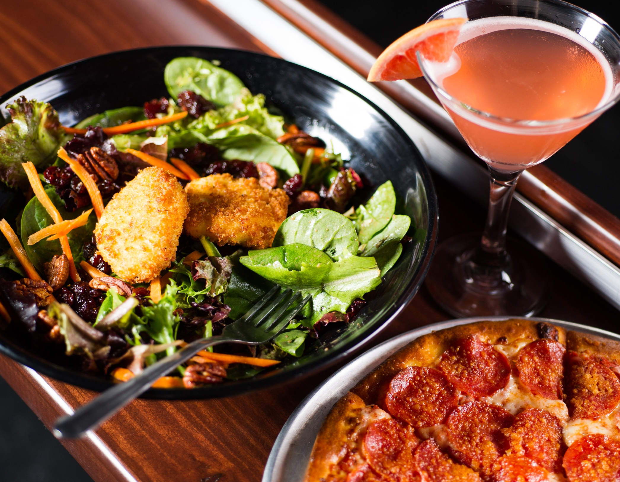 Fried Goat Cheese Salad, Rio Star, and Pepperoni Pizza