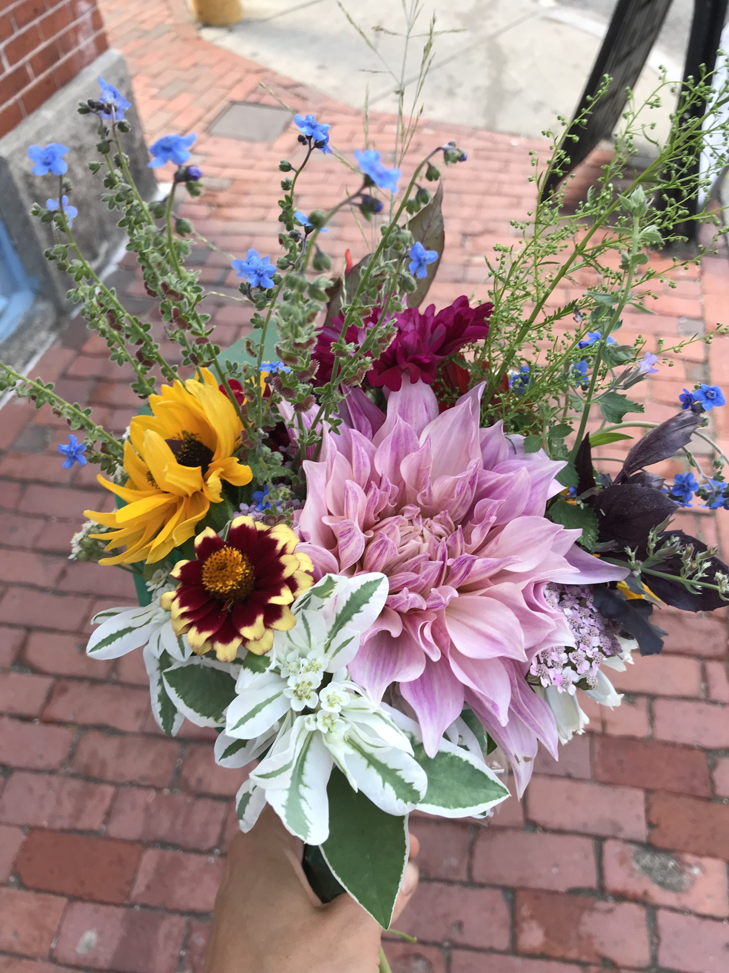 A bouquet on its way to Page Boy Studio in Portland!
