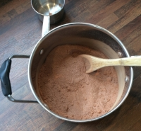 All you have to do is combine cocoa, sugar and salt in a saucepan.
