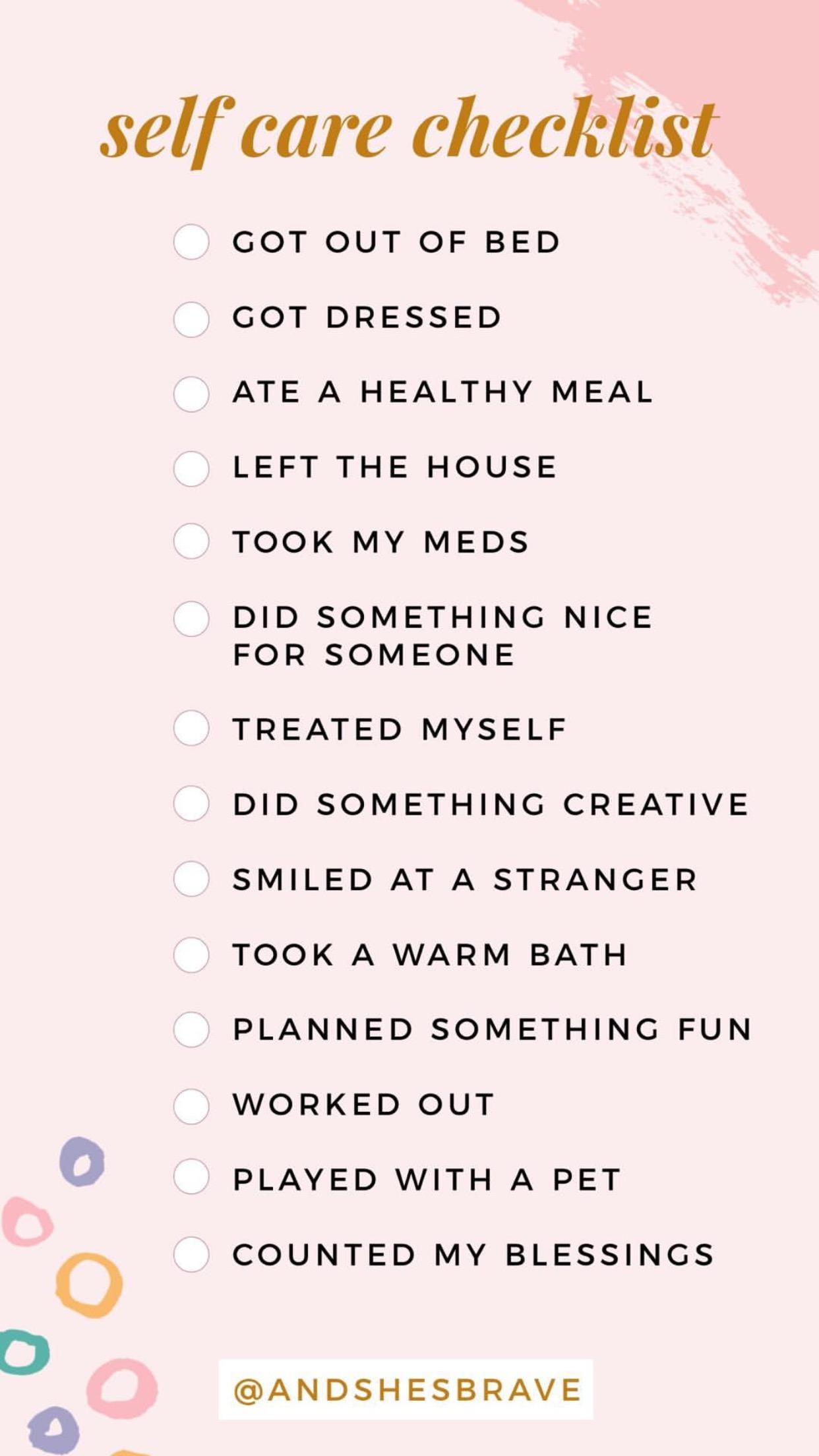 checklist courtesy of @andshesbrave