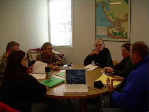 MOU II Working Group is meeting every two weeks. Meeting locations are intentionally alternated, between Cape Cod National Seashore Headquarters and town halls in Truro and Wellfleet. From left: Hillary Greenberg; Rex Peterson; John Portnoy; Gary palmer; Carrie Phillips; Gordon Peabody
