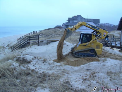 Special equipment, planned access from the back dune area and matched particle size and mix are considerations in restoration of a coastal resource.
