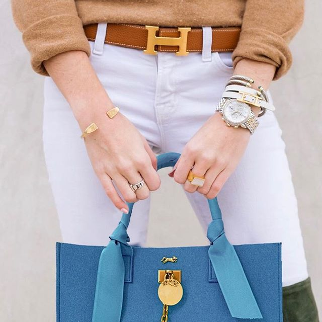 """Out and about with our Brunch at Bergdorf's Bag in """"Bleu"""". Be one of the first to place your order!  #houseofmink #brunchatbergdorfs #bleu #hermes #dior #brunch"""