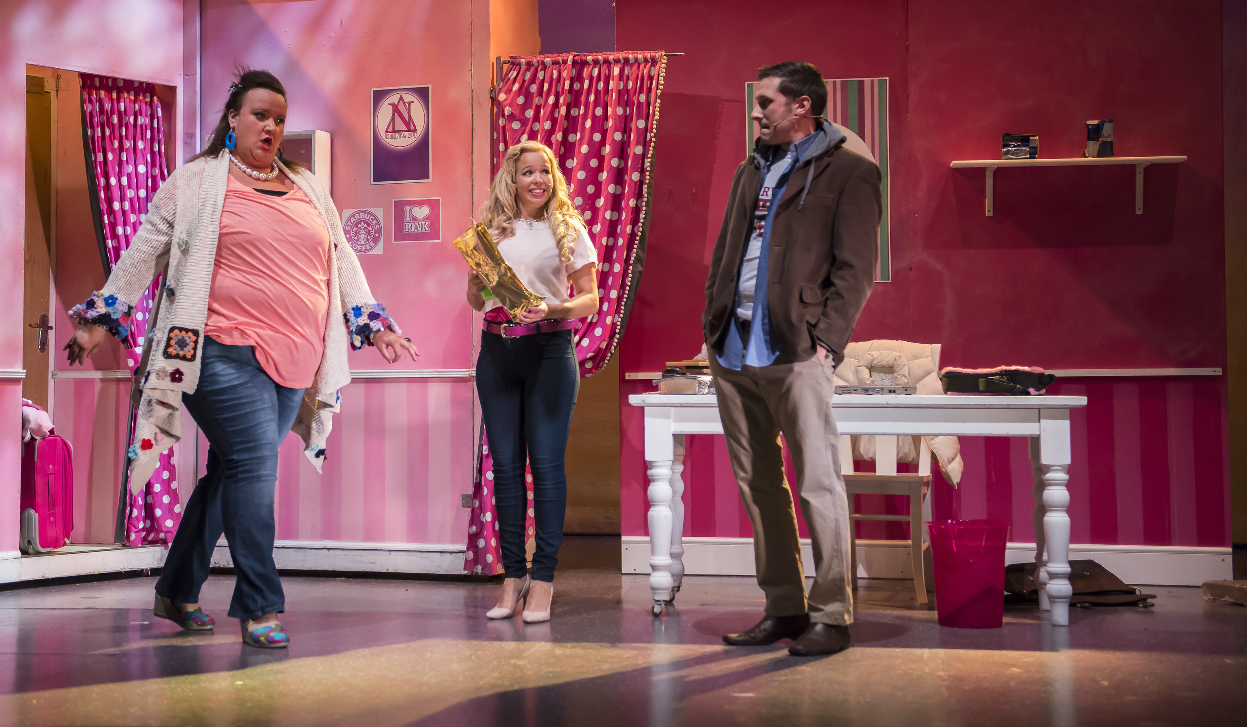 Sally Manning as Paulette, Laura Newborough as Elle and David Izzo as Emmett