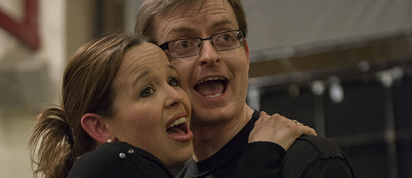 Ian Moseley and Laura Newborough in rehearsal