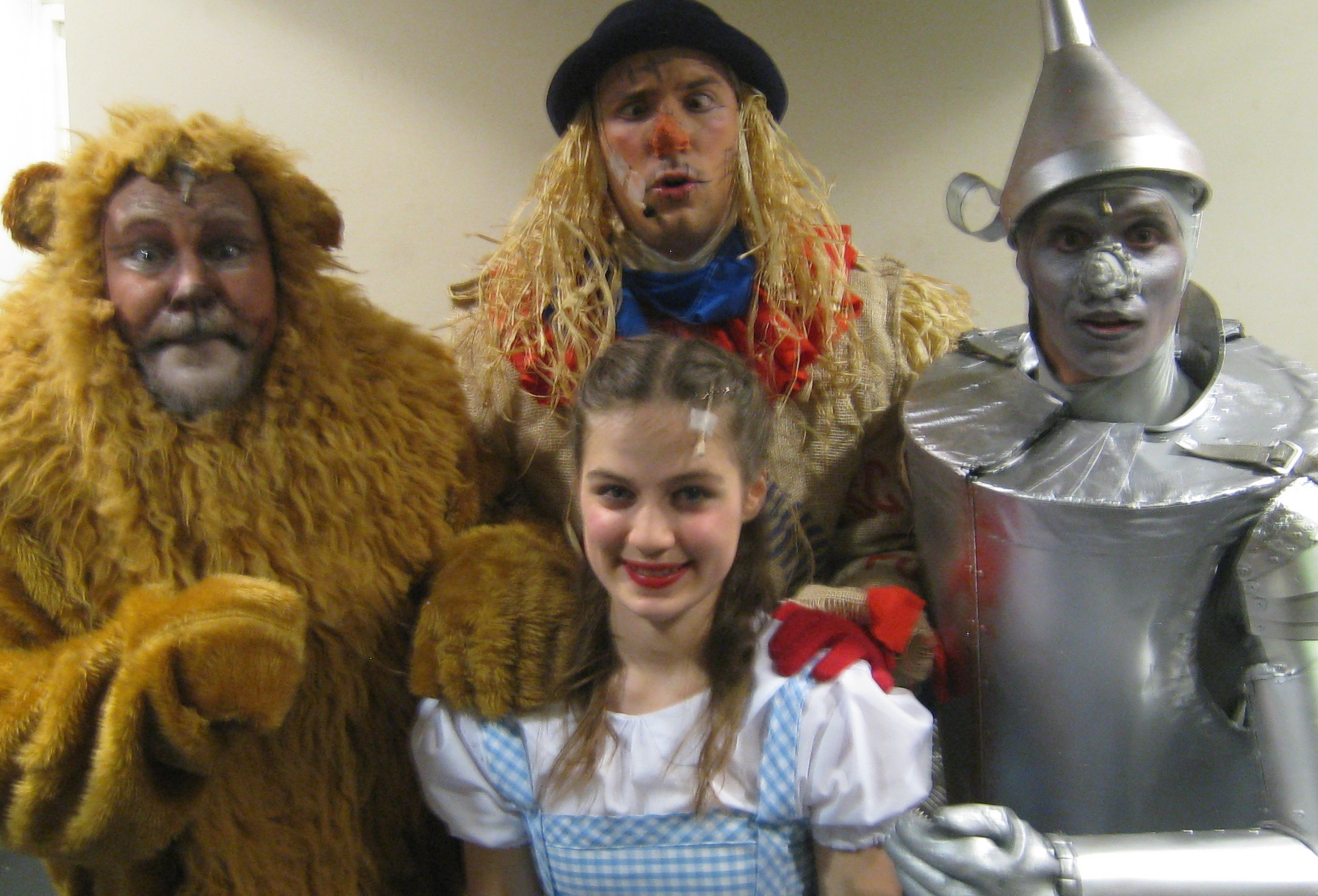 Dorothy, Lion, Scarecrow and Tin Man in costume