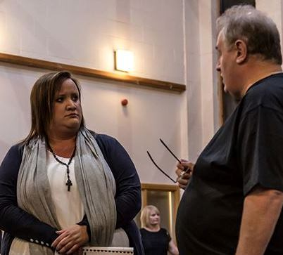 Sally Manning in rehearsal for Sister Act