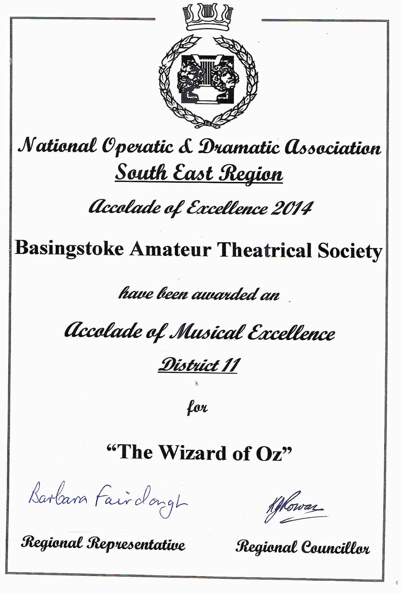 NODA accolade of excellence certificate for The Wizard of Oz, BATS