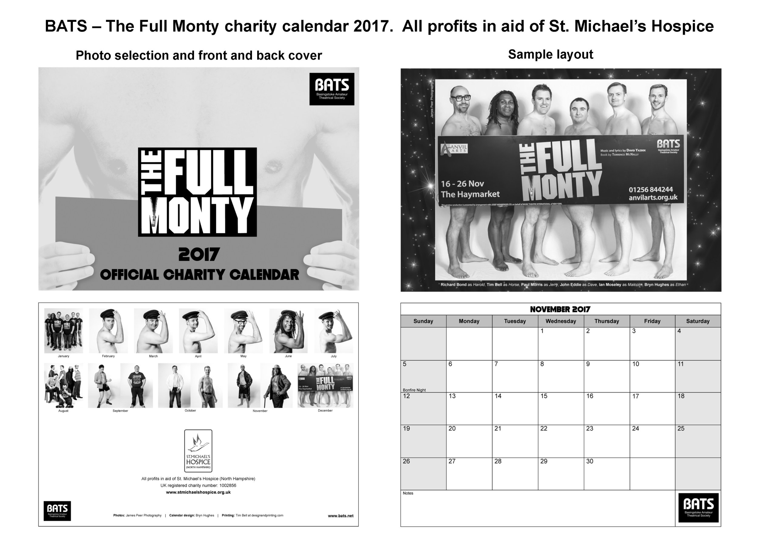Full Monty calendar - front cover and sample inside page