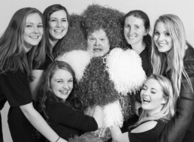 Gary and the Laker Girls having fun at Spamalot rehearsals and photo shoot