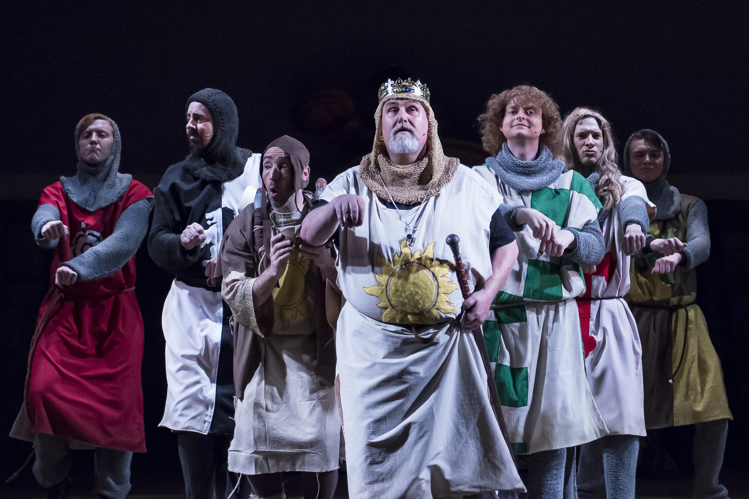 Colin Flaherty as King Arthur (Centre), Richard Bond as Patsy (Centre Left) and some Knights