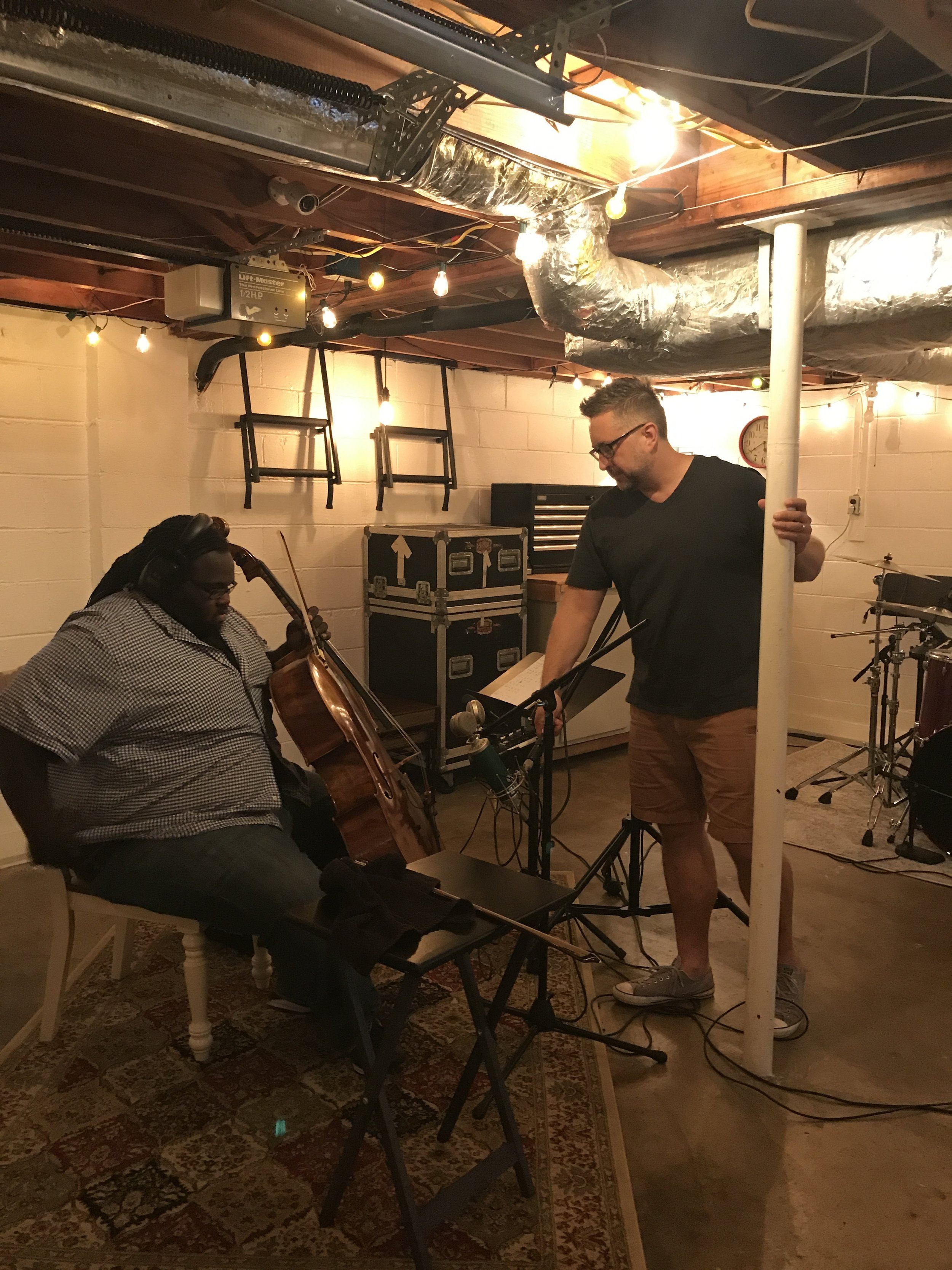 Lee is here with Cremaine Booker at  2Twenty2 Studio  recording cello for the new project!