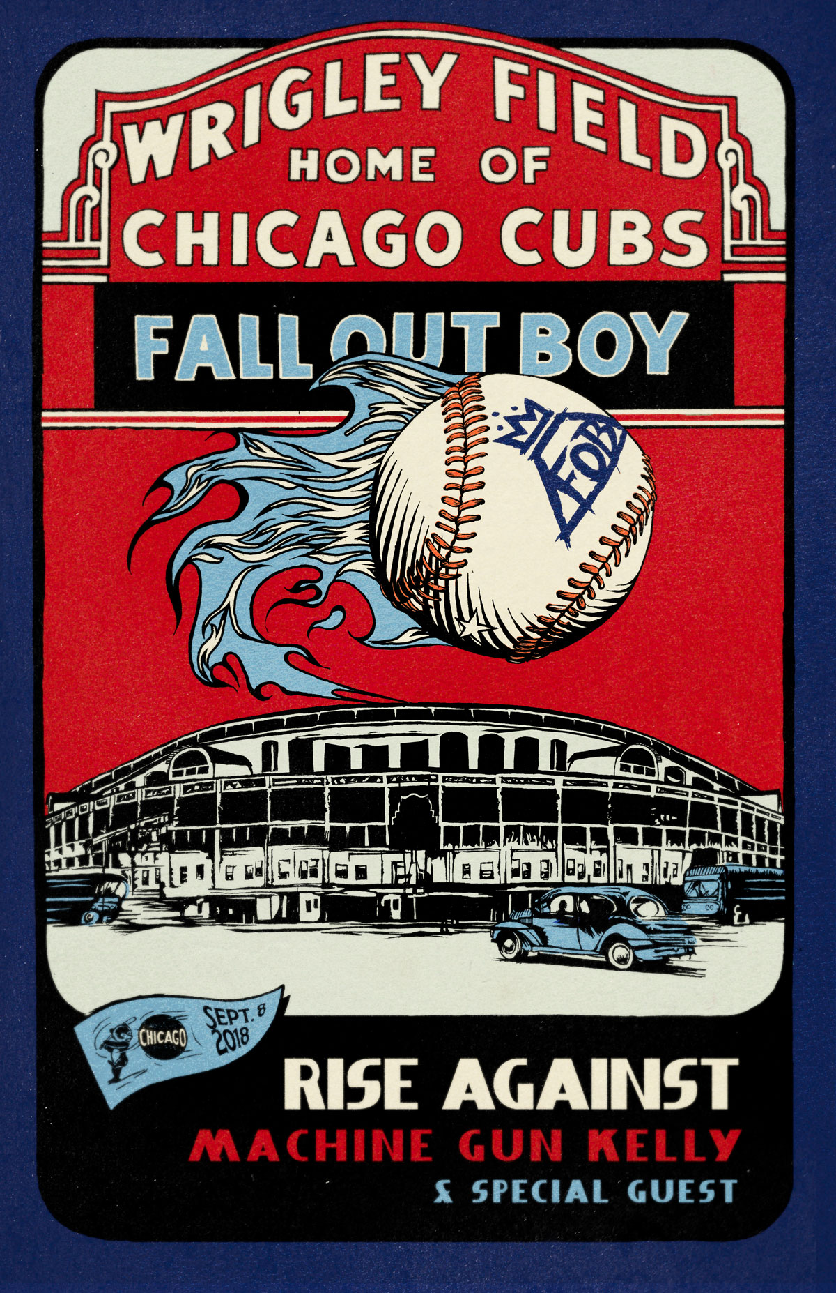 Poster for Fall Out Boy's Show at iconic Wrigley Field in Chicago. -