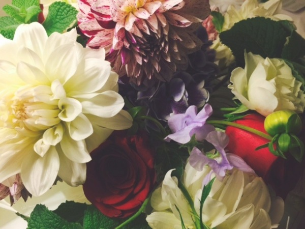 Flowers from my publisher. How did they know dahlias were my mom's favorite? We love them. Photo ©2015 Sandra Cisneros