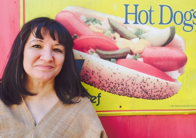 Good hotdogs! Sandra returns to her Chicago neighborhood. Photo ©2015 Phyllis Lopez