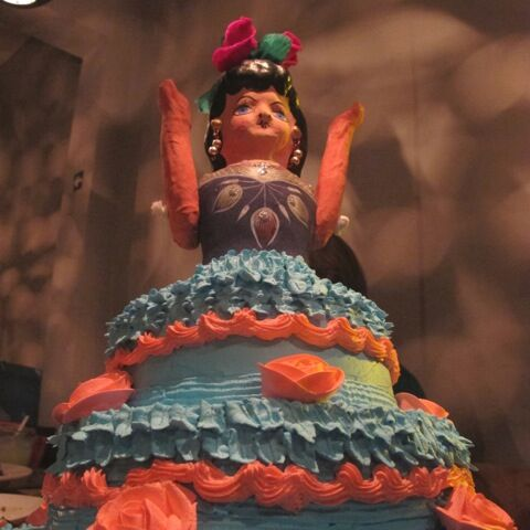 Sandra's 60th birthday fiesta -- the actual birthday cake, by master pastry chef Vera Khrolenok from Verintort Restaurant  Photo ©2014 Macarena Del Rocio Hernandez
