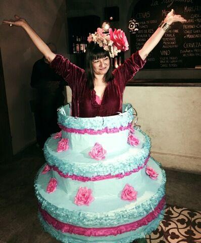 Sandra's 60th birthday fiesta -- Sandra as her own  birthday cake. Piñata skirt by Eva and Jorge Rios.  Photo ©2014 Tracy Boyer.