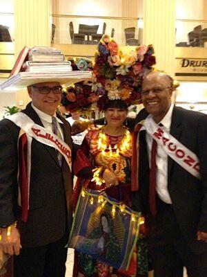 Roland Mazuca, Alfredo Cisneros Del Moral Foundation Director (left), Sandra, and Macondo member Reggie Young (right)