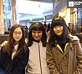 Sandra with Jiwoo Kim and Jisoo Bae, 8th graders at Seisen International School, at the Futako-Tamagawa station in Tokyo.