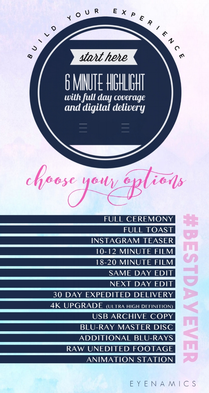 A la Carte Wedding Video Pricing Guide