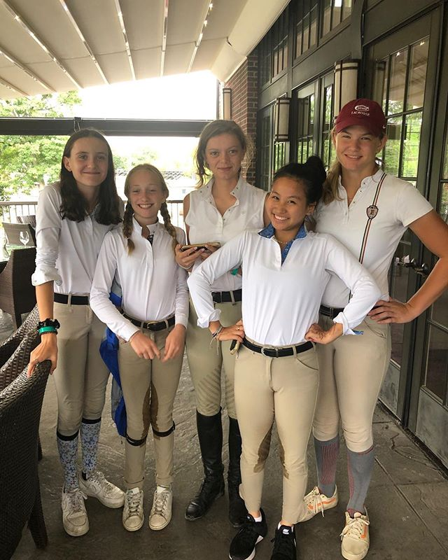 "Another great week at HITS Saugerties!! Caroline Cole and Kinsale were reserve champion in the younger 3'3"" juniors, Red Light also picked up a reserve champion in the 3ft green with Nate Estes and Liz Manocha riding. Kristen Baran took top ribbons in the adults on Caramia and Beloved. Xela Janklow and Monte Carlo took home second in their first high adult class and both Dana Trotter, Kate van de Bovenkamp and Brigette MacGowan jumped clear rounds with great ribbons in the adult and children's jumpers. Mia Campbell had a great classic day with Joli Van Het Reigershof and Julia Bryne jumped to 5th in the low children's. Sara Summerville also picked up top ribbons in the large children ponies!  Both Tracy Broxmeyer and Danielle Levine returned to the show ring after a few years off and produced beautiful clear rounds! Thanks to our great clients and amazing grooms!"