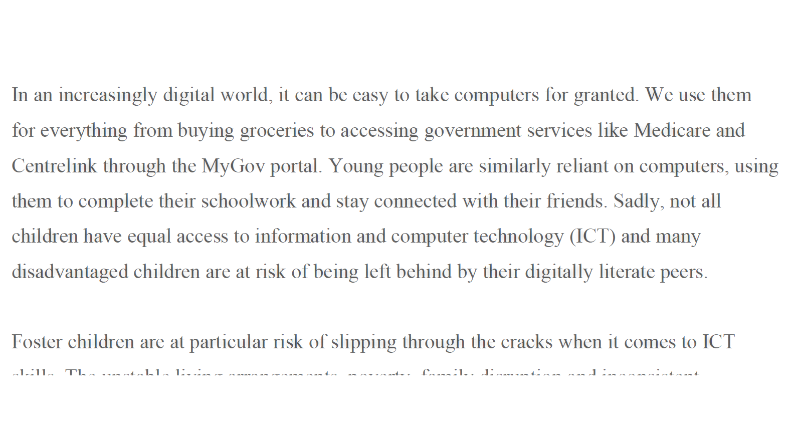 Newsletter - An article for a quarterly newsletter intended to educate foster carers about the importance of home computer access
