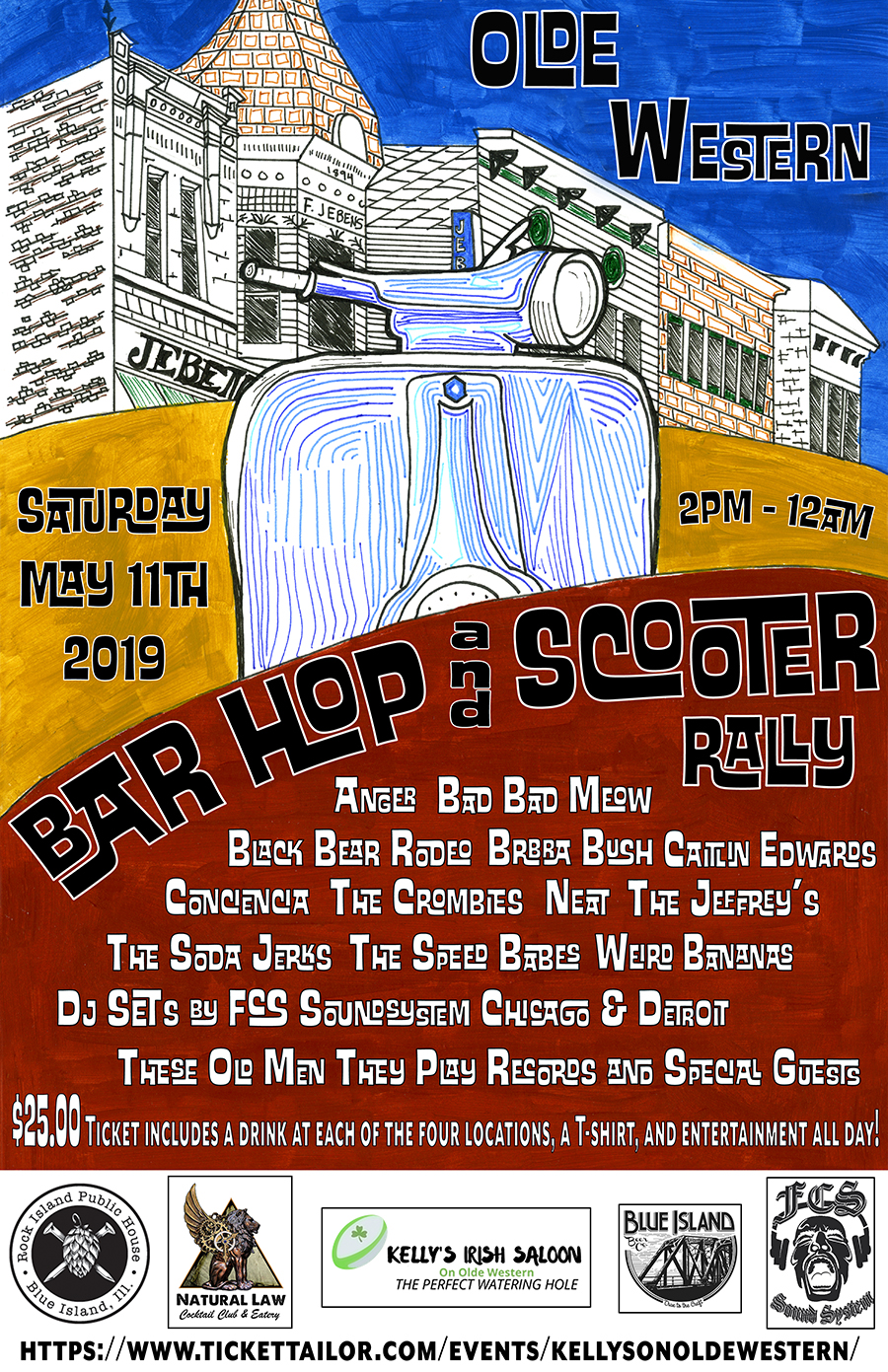 Saturday May 11th 2019 Olde Western Bar Hop and Scooter Rally  Kelly's Saloon - on Olde Western   Rock Island Public House   Natural Law   Blue Island Beer Company  2pm to Midnight Blue Island, ILL 60406  $25.00 Ticket includes a drink at each of the four locations, a T-shirt, and entertainment all day!   https://www.facebook.com/events/323849321600987/    https://www.tickettailor.com/events/kellysonoldewestern/