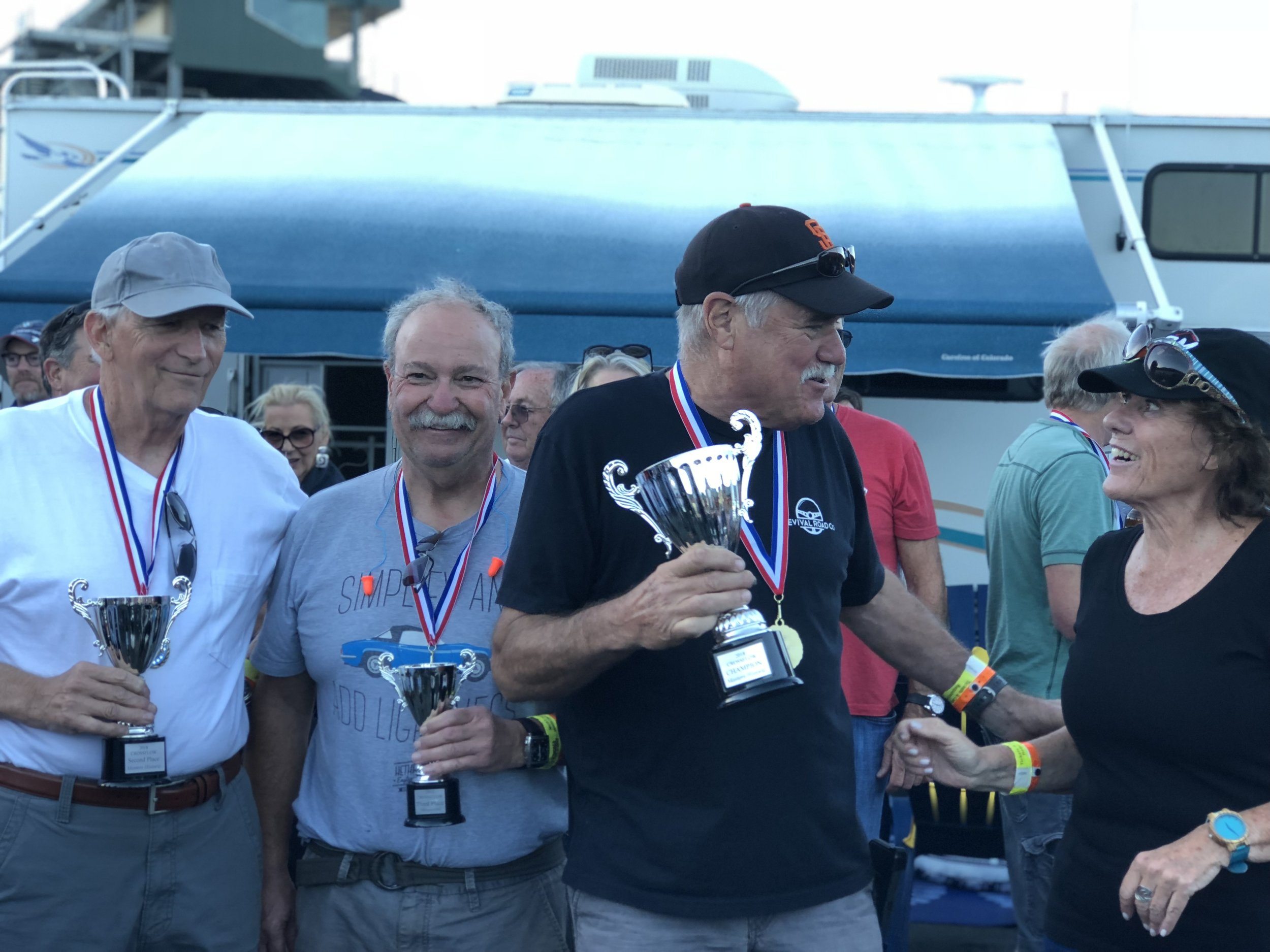 Masters podium presented by Lynn St. James. Champ Dave Zurlinden (far right) Tom Duncan (far left) and Dan Wise (Center)