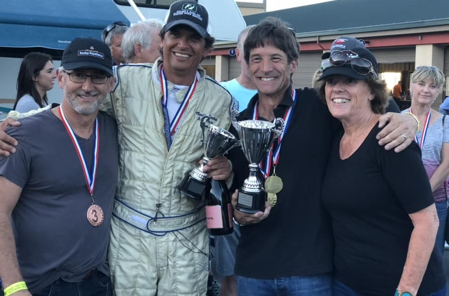 2018 Historic Ford Podium, Andrew Wait (3) Martin Lauber (2), Art Hebert Historic Champion, presented by Lynn St. James