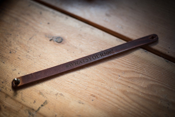 """WHAT'S YOUR 500?"" LEATHER BRACELET (FRONT)"