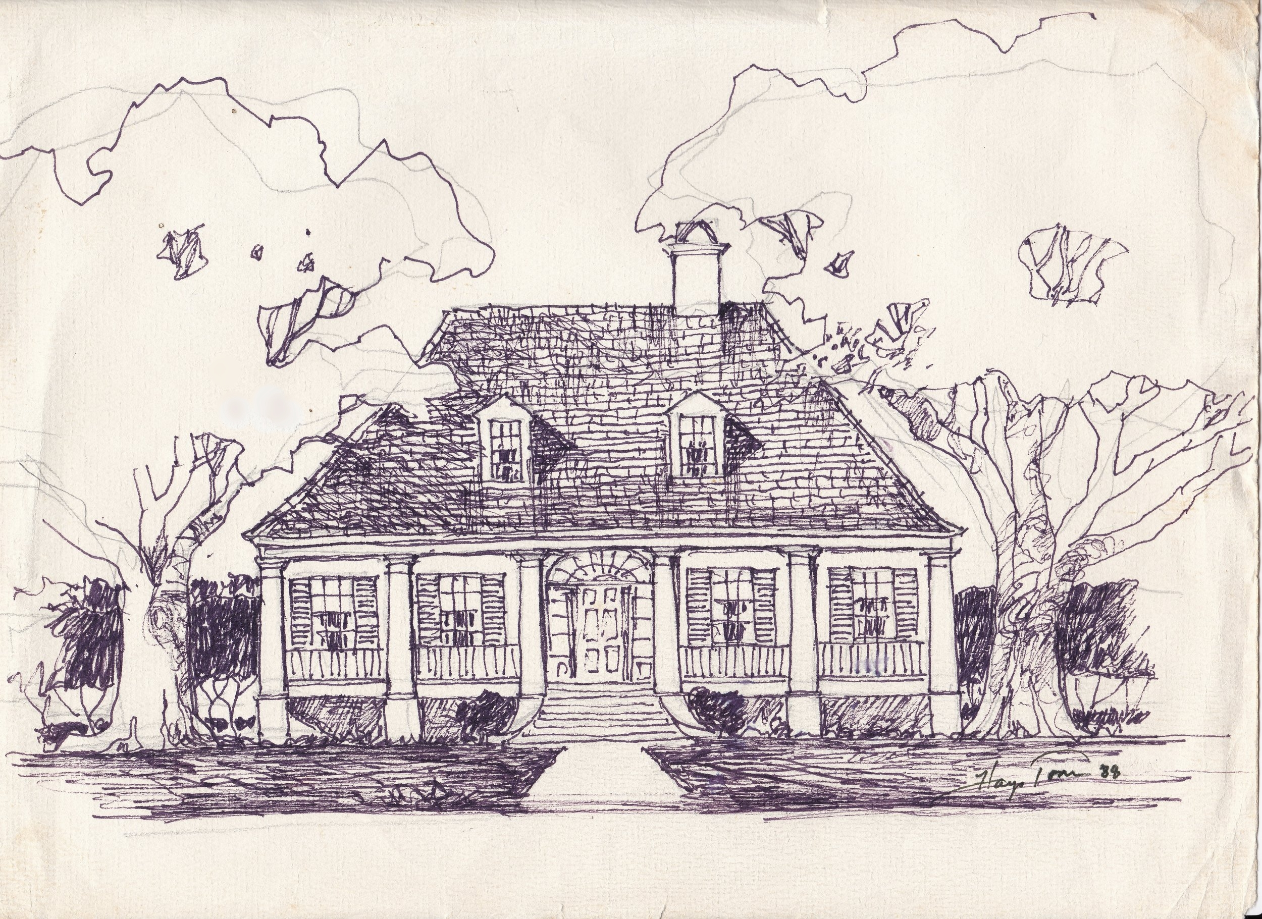 Original hand drawn sketch by A. Hays Town for Debbie Bourgeois, 1988.