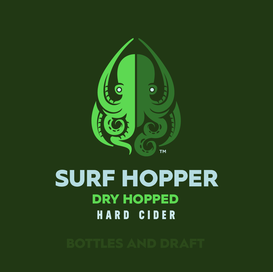 Inspired by our craft beer buddies, Surf Hopper is aggressively dry-hopped with Lemondrop Hops and bursting with bright citrus and herbal notes. Still gluten-free, we've created a cider for the IPA crowd.