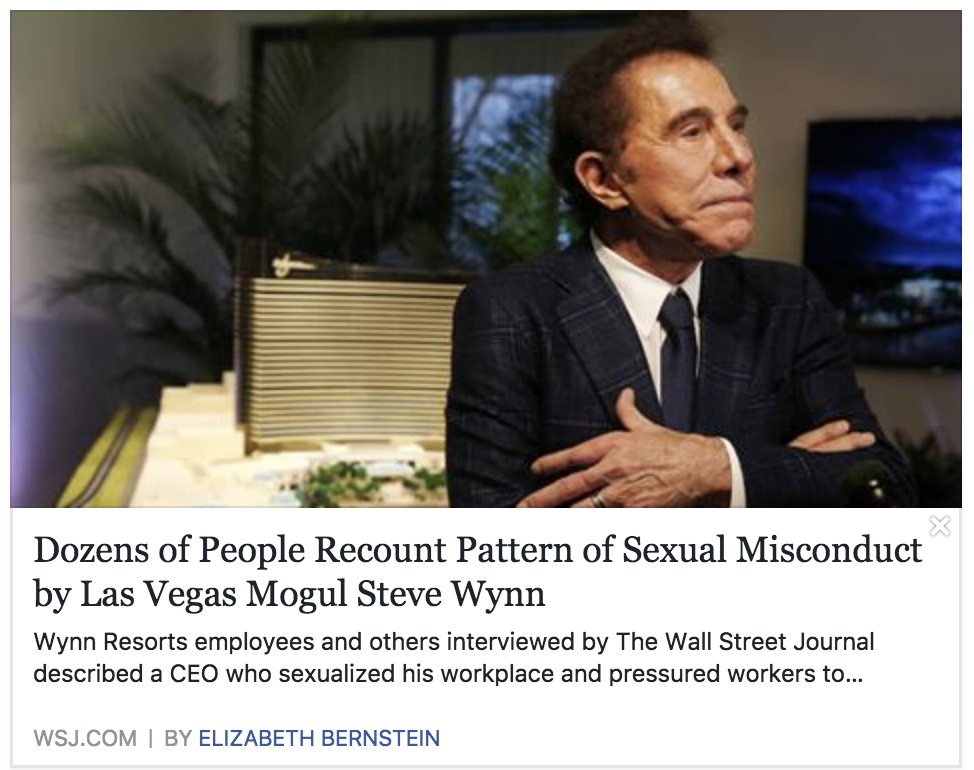 Steve Wynn and Sexual Misconduct