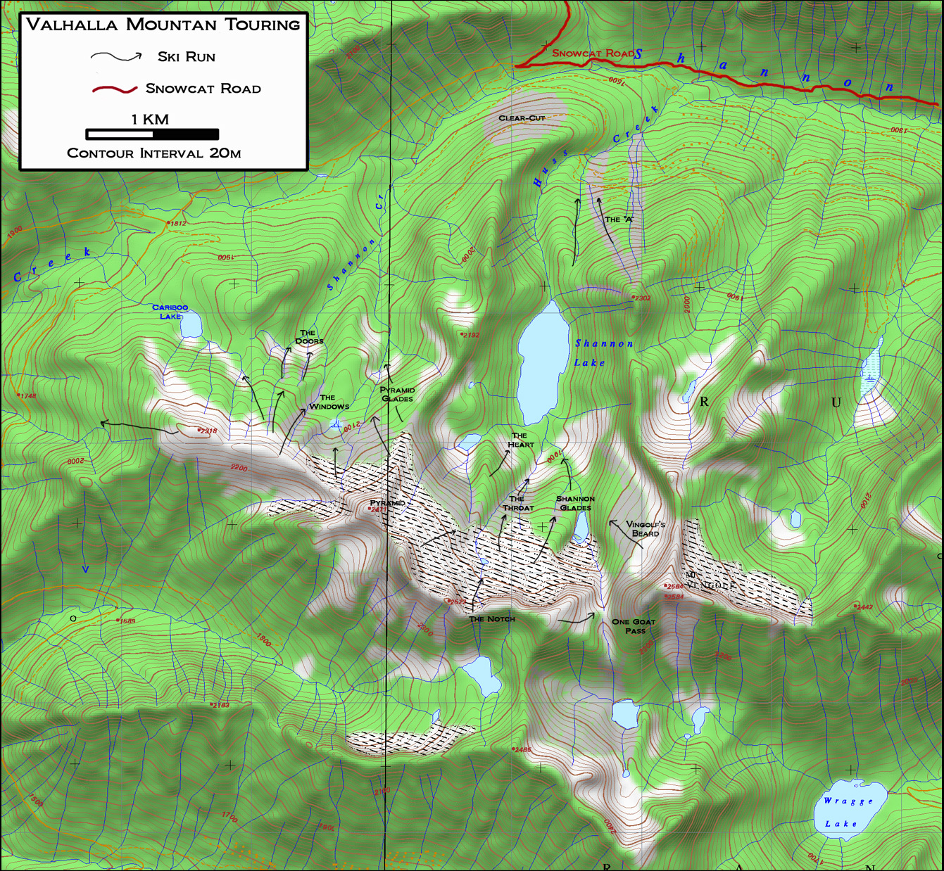 valhalla mountain range backcountry skiing touring map
