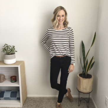 Thrifted Striped Top, Everlane skinnies, Nisolo Oxfords