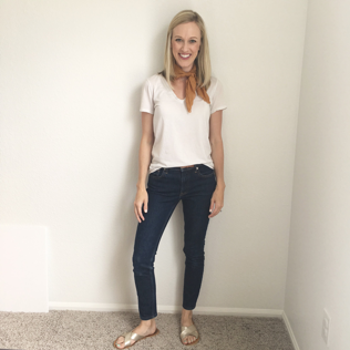 Upcycled scarf, Everlane White Cotton V-Neck, Everlane skinnies, Sseko Crossover Sandals
