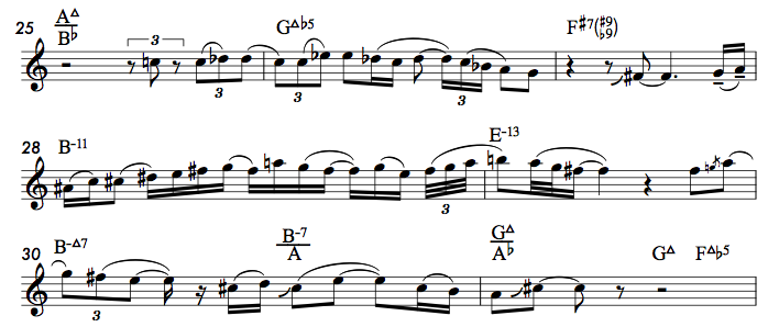Excerpt from Zbigniew Seifert's solo on  Zal  by Richie Beirach (©1976 Beirach Music)1