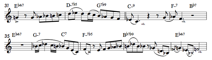 Excerpt from John Coltrane's solo on  I Hear A Rhapsody  (©1940 Broadcast Music, Inc.)6