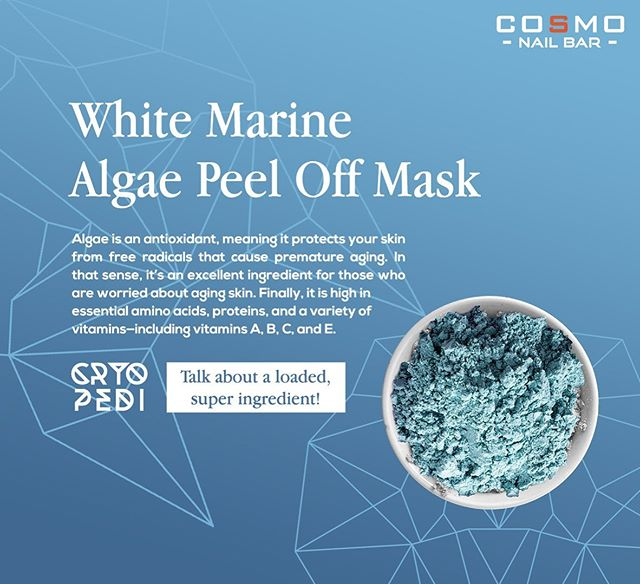 White Marine Algae Peel Off Mask  Algae is an antioxidant, meaning it protects your skin from free radicals that cause premature aging. In that sense, it's an excellent ingredient for those who are worried about aging skin.  Finally, it is high in essential amino acids, proteins, and a variety of vitamins—including vitamins A, B, C, and E. #CosmoNailBar #CryoPedi #DFWNails