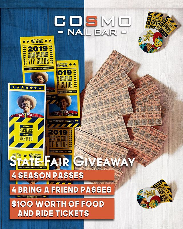 🎡🍗 TEXAS STATE FAIR TICKET GIVEAWAY 🎡🍗 It's that time again! Who's ready for a TEXAS SIZED Giveaway?! Get ready for the BIGGEST State Fair of Texas Experience!! 💸💸 Winner will receive: 1) 4 Season Tickets 🎉 2) 4 Bring a Friend Passes 🎟 3) $100 Worth of Food/Ride Tickets 🍖 Total Value: +$300.00 😘❤ . . . 🎁🎁Giveaway Rules🎁🎁 1) MUST be following @TheCosmoNailBar (We will be checking this daily!) 2) Like this post 3) Tag a friend!! (Every tag counts as an entry, we wanna see who REALLY wants to win)!! 4) Check out our Facebook post for more giveaway details! The winner will be announced on September 27th at noon on our Facebook Page!!! 🎡  #CosmoNailBar #Cosmo #statefairoftexas