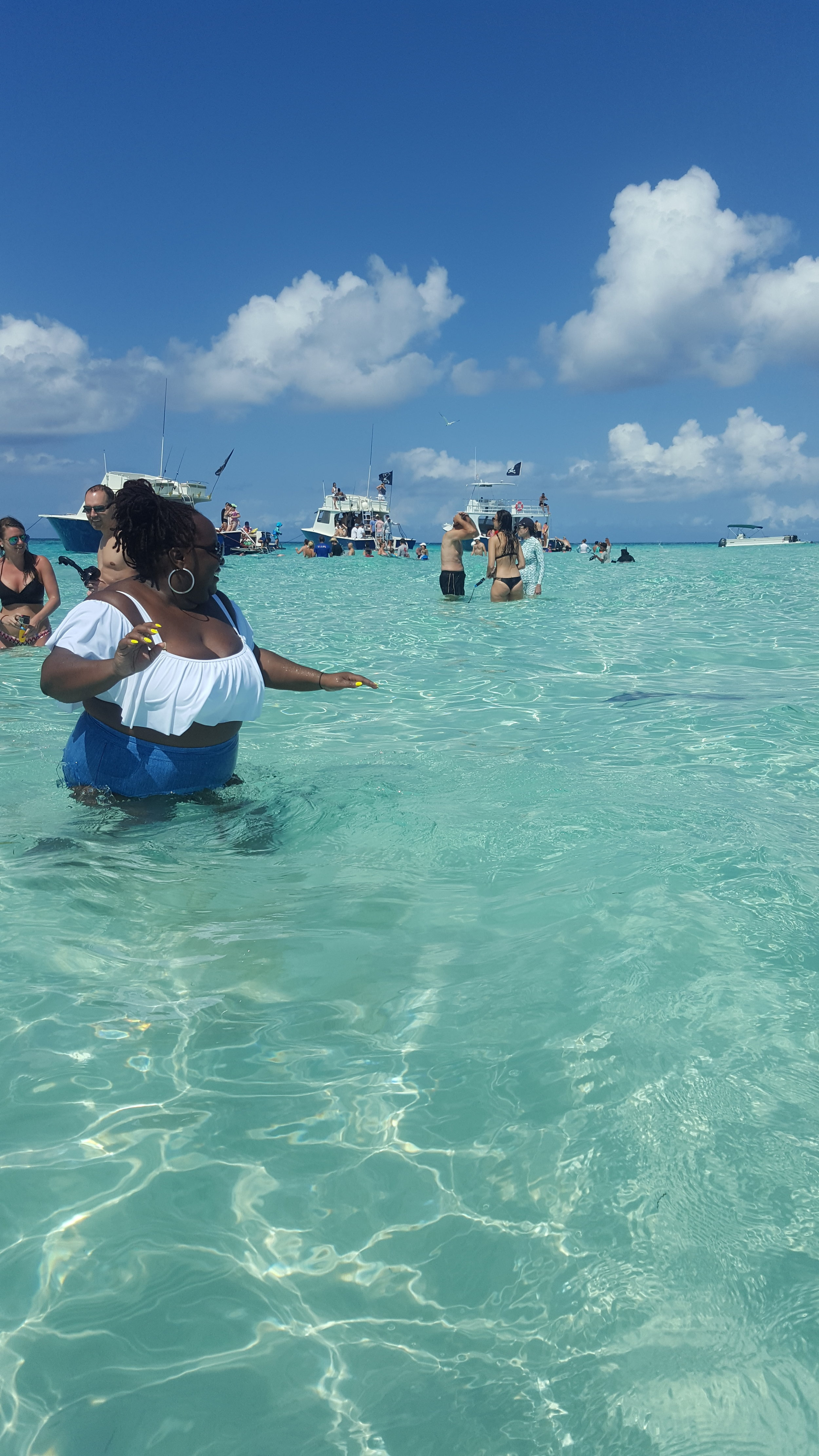 I was posing for a sexy swimsuit picture when a stingray tried to roll up on me!