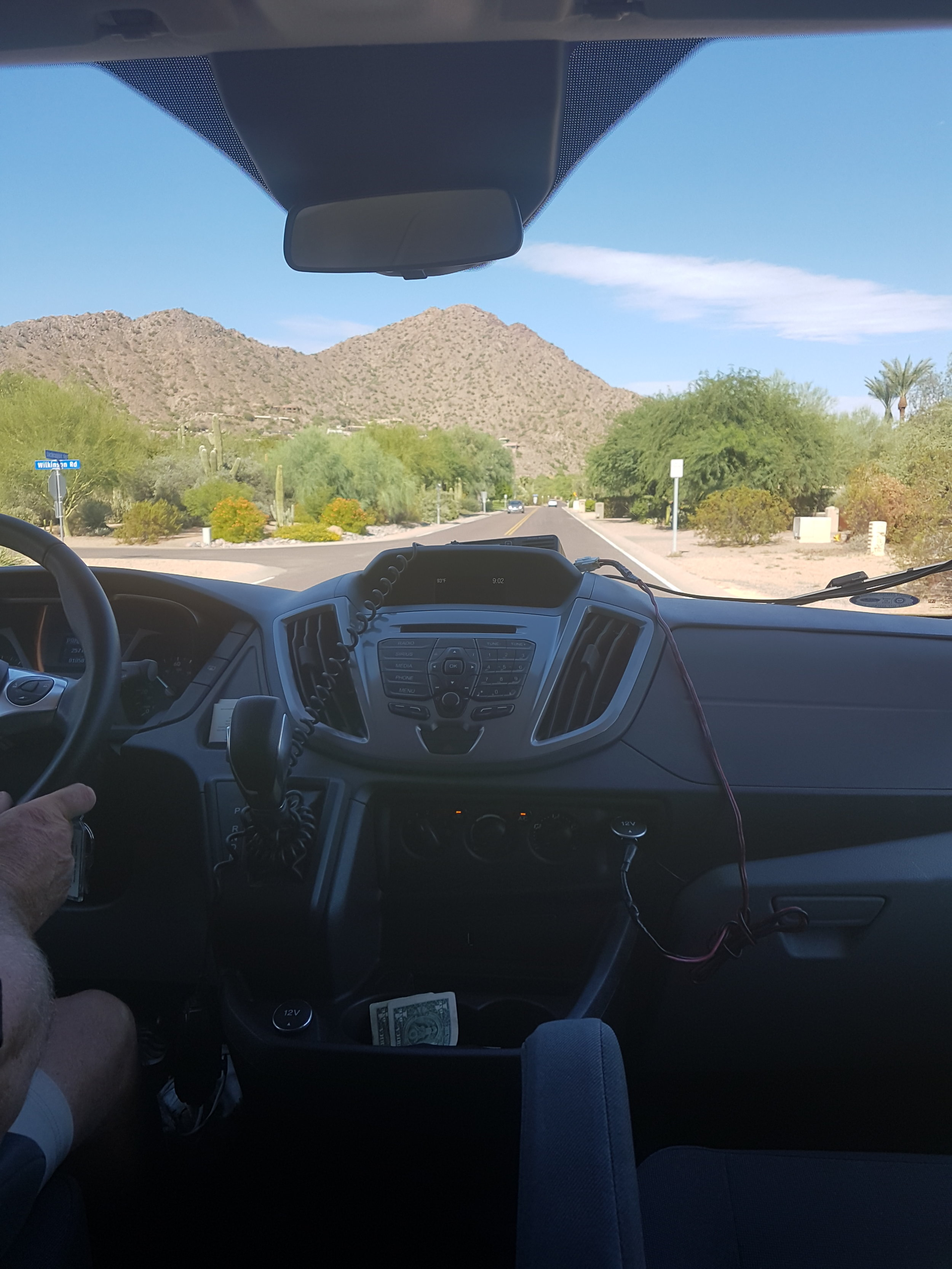 In my shuttle, on my way to Camelback Mountain