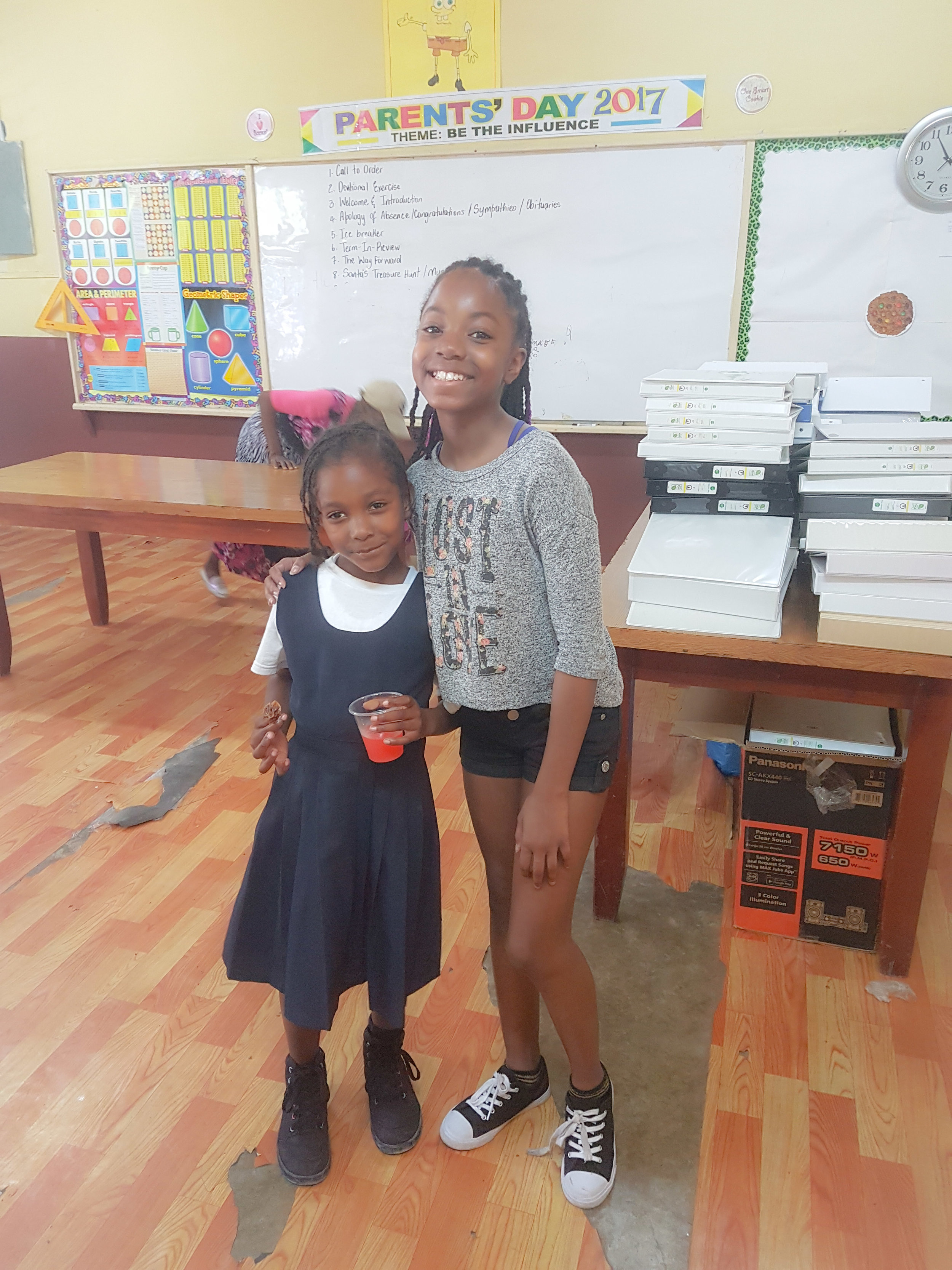 My niece making friends. I'm glad that she was able to see how other children experience school.
