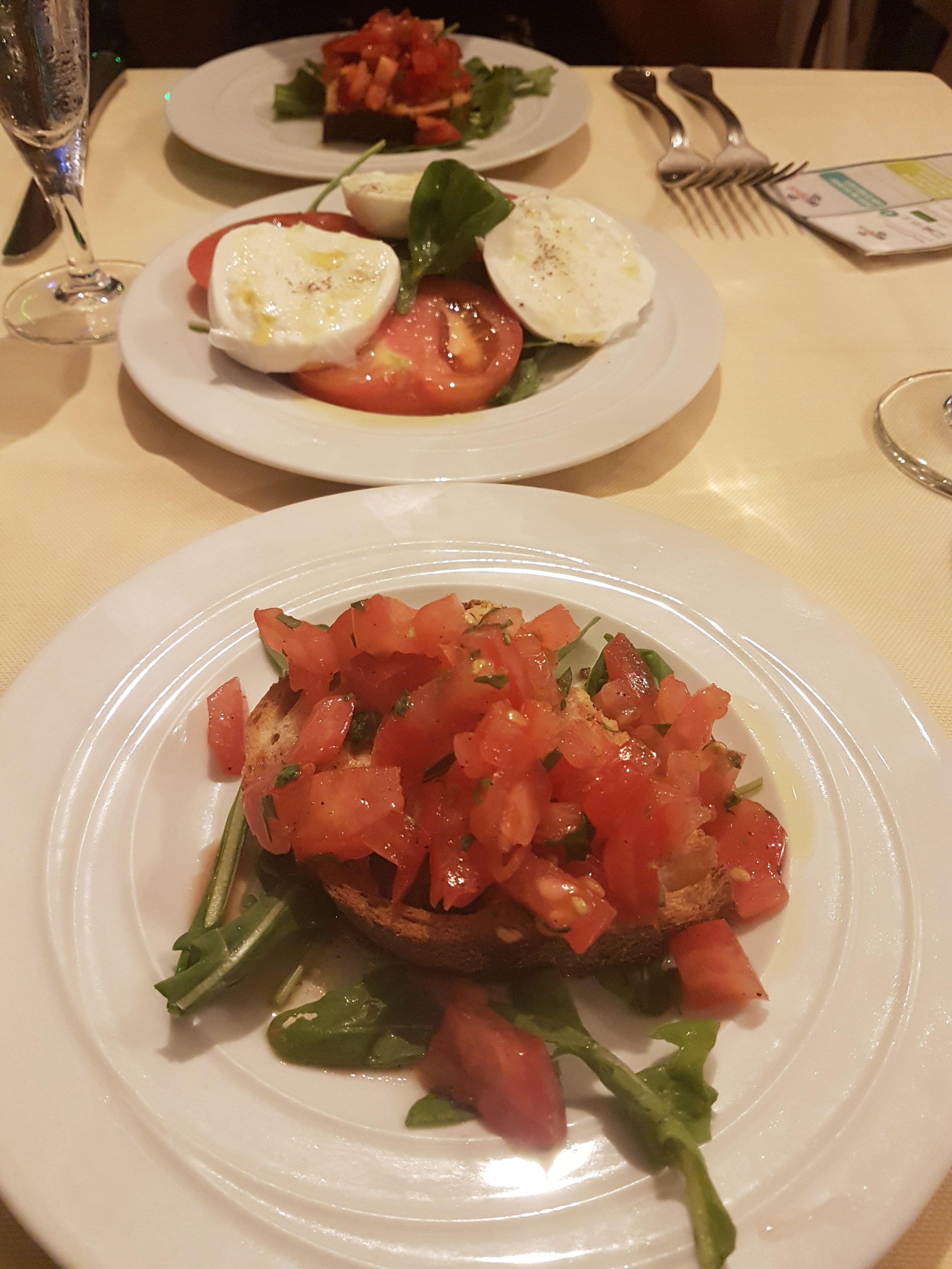 Bruschetta and Caprese Salad.