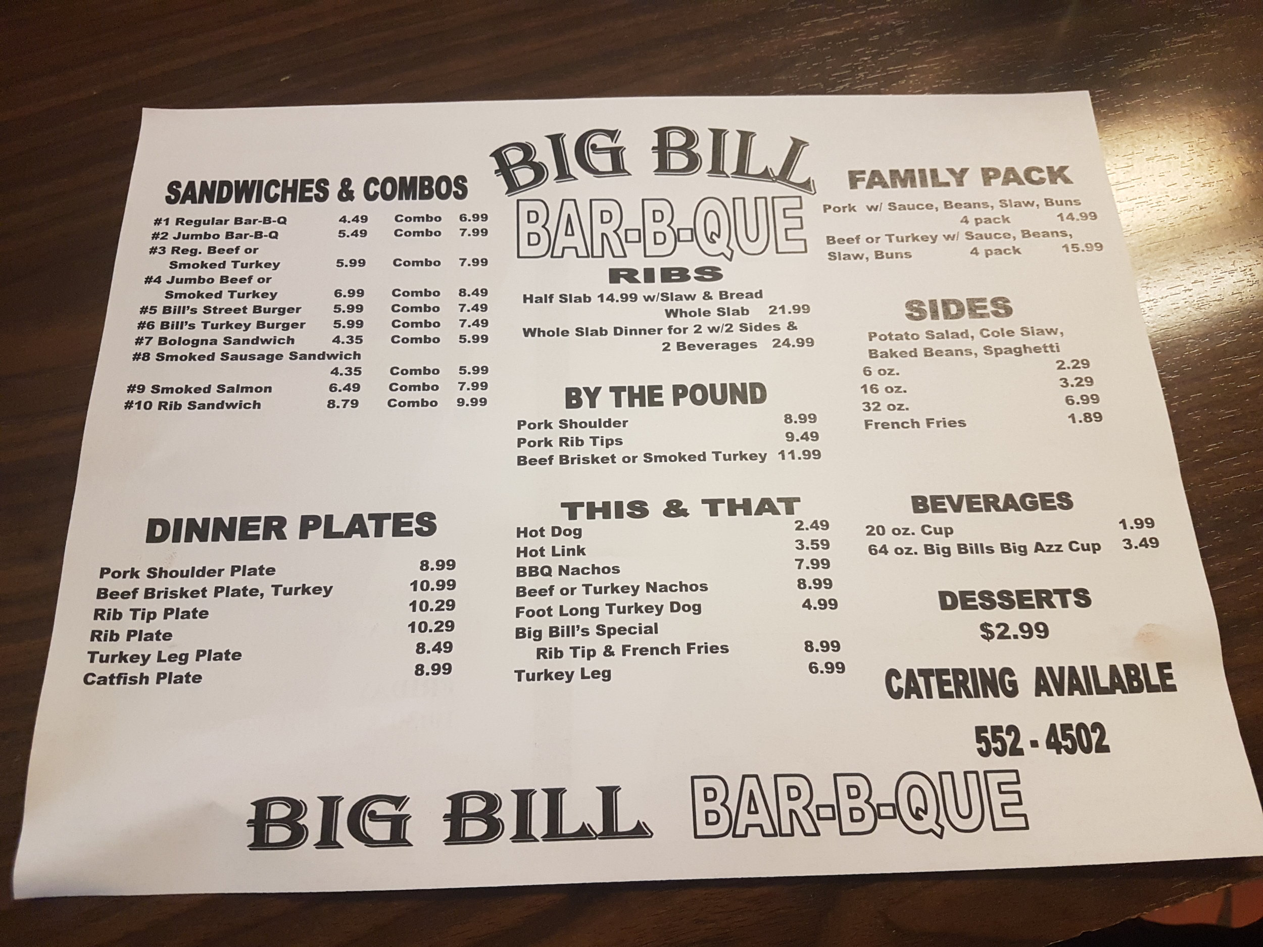 Big Bill Menu