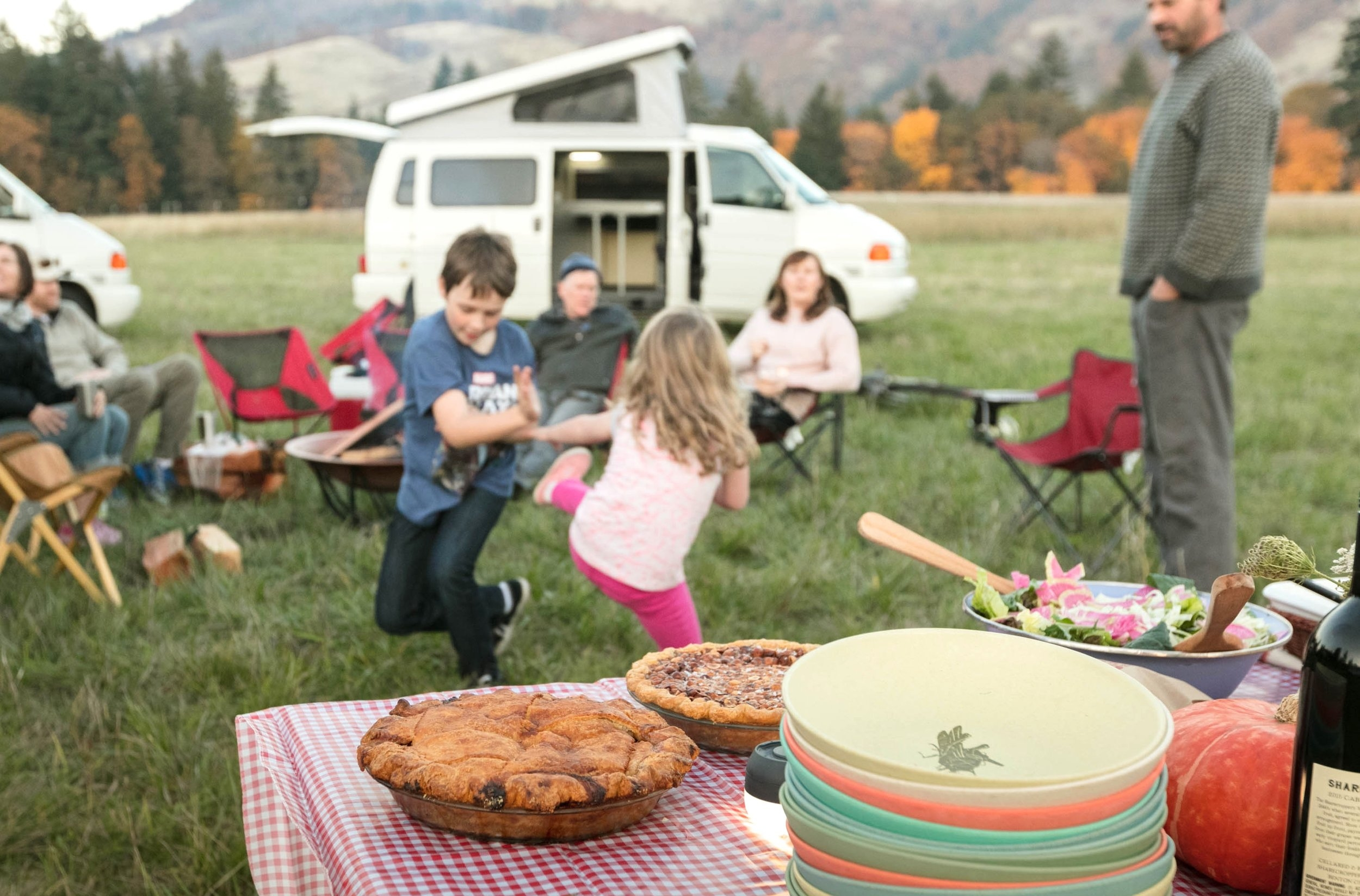 STEP 8: DISH IT UP.  GoCamp vans are outfitted so that four people can hop in and go. That means you'll find all the plates, bowls and even serving platters you need inside your van.
