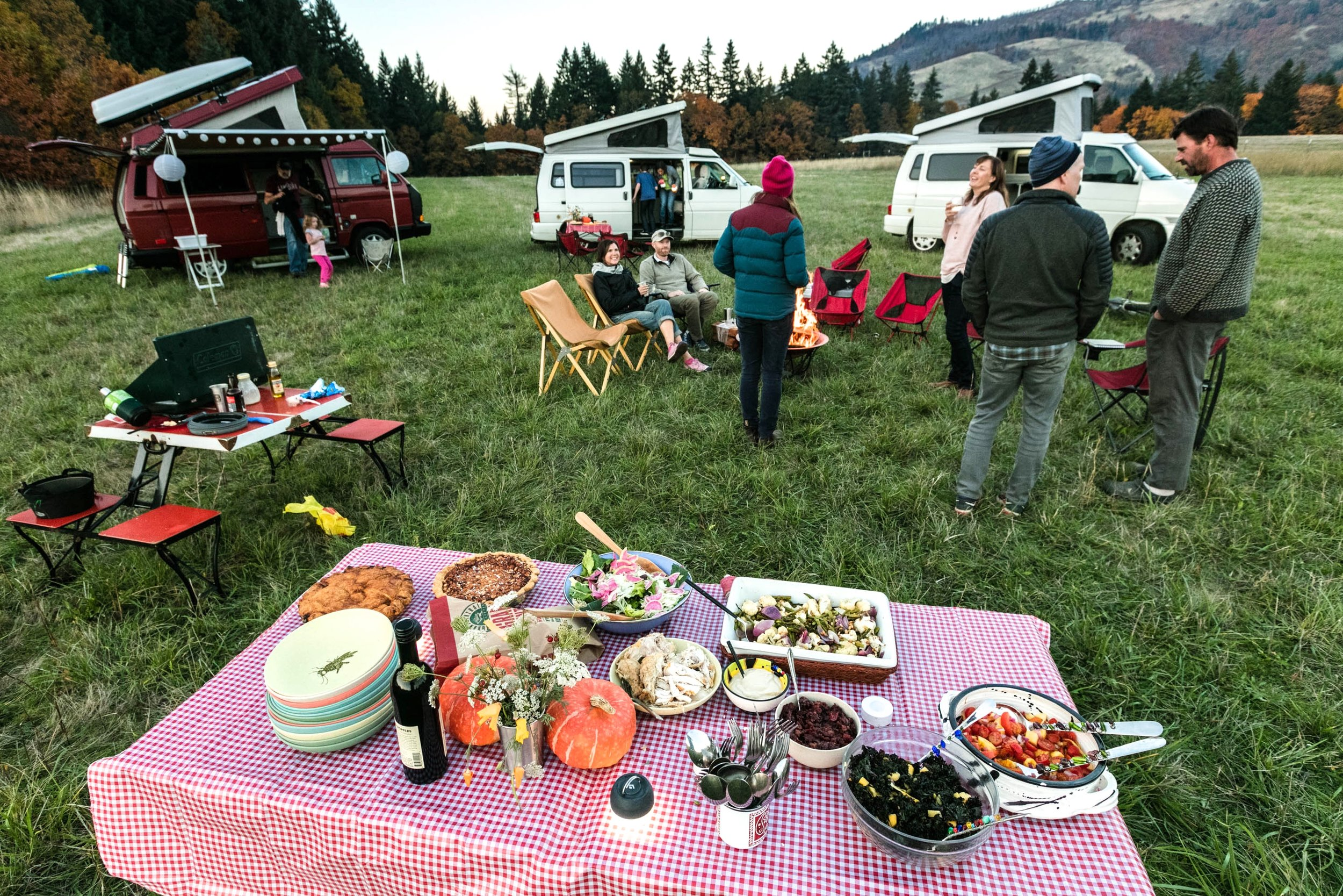 STEP 9: SERVE DINNER BUFFET STYLE . Use your GoCamp camp tables to create a buffet. We did a combination of cooking on site and bringing dishes from home. These GoCamp vans are Maupin, Rogue, and Tilly Jane.